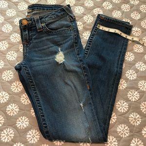 True Religion distressed skinny jeans size 28